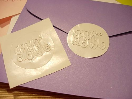 Stickers embossed with a Monogram embosser