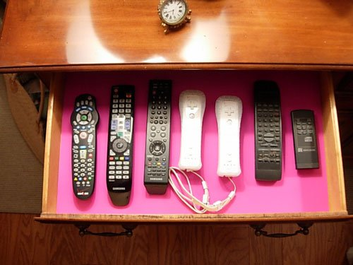Drawer organizing idea for remote controls