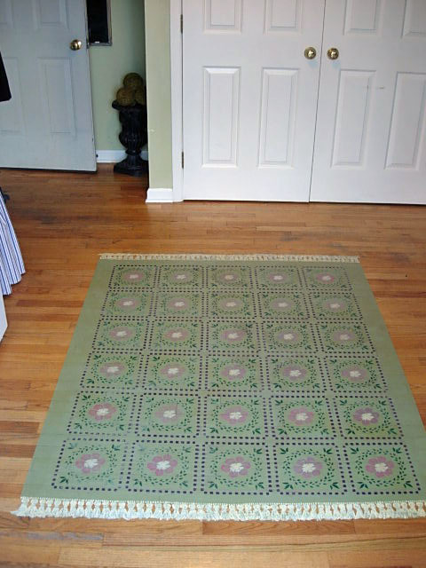 how to stencil a rug on a hardwood floor