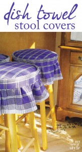 3 wood stool tops covered in blue and white DIY dishtowel covers.