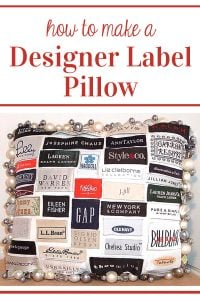 creative throw pillow made using labels from clothing