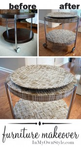Create a basket weave effect on table using gift wrap