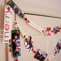 Recycled Christmas Cards:  Friends and Family Tree Garland