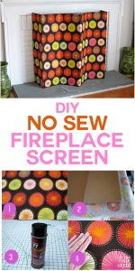 No sew DIY Fireplace screen made using fabric and cardboard. It can also be used as a decorative screen to hide kid's toys, unsightly electronics, and more.
