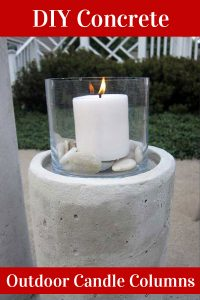DIY concrete candle column for outdoor lighting