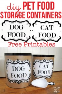 DIY pet food storage containers and DOG and CAT free printable labels.