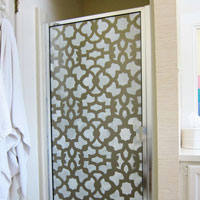 How to stencil a glass shower door using an all over stencil pattern