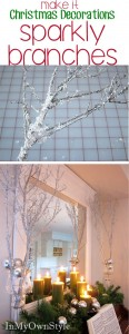 DIY sparkly glitter branches for holiday decorating. Fast and easy to amke using branches from you own yard. | InMyOwnStyle
