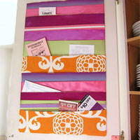 How to make a ribbon memo board to go inside a kitchen cabinet