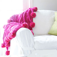 How to make large pom poms to go on a throw blanket or chair throw blanket.