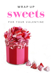 Red and Pink striped round gift box with tissue paper flower top to place a Valentine's Day gift it or candy.