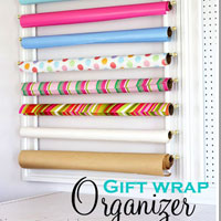 How to organize gift wrap on a wall