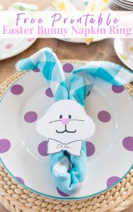 Easter bunny napkin on plate