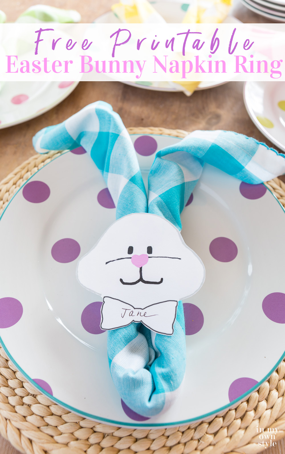 Easter table setting idea using napkins to resemble a clothEaster Bunny.