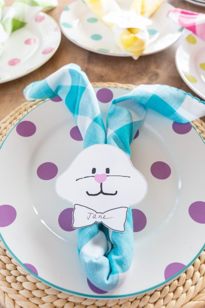 Easter Bunny Napkin Ring Free Printable
