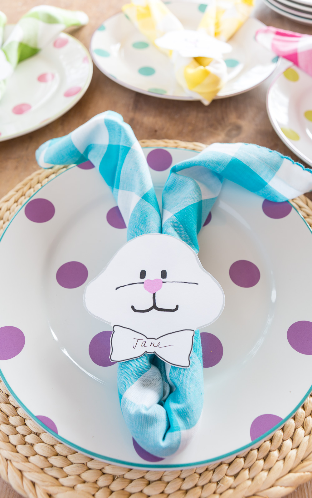 Pastel turquoise Buffalo Check Napkin made into an Easter dinner place card and napkin holder.