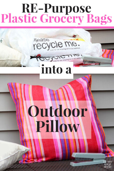 Outdoor Pillow Insert Using Plastic