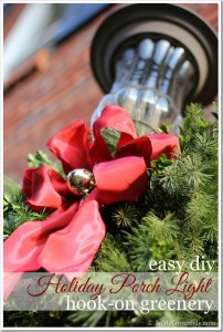 Christmas-Outdoor-Porch-Light Decoration using greenery.