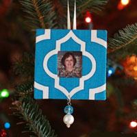 Scrap Fabric Handmade Christmas Tree Photo Ornaments