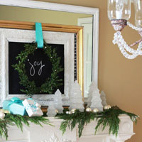 Christmas Mantel Decorating Idea Glitter Glass Trees