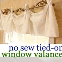 No Sew Tie On Window Valance