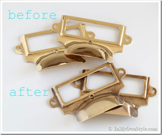 Before and after drawer pulls after using Brass ager on them.