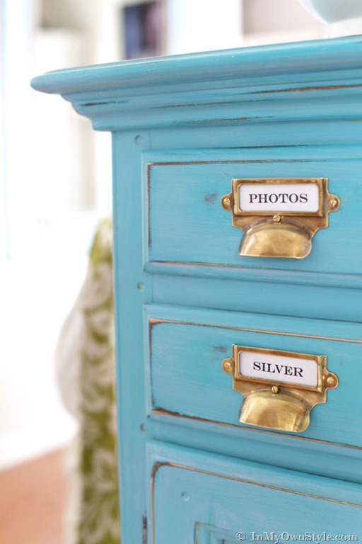 turquoise chalk painted sideboard with aged brass drawer pulls