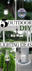 Outdoor DIY Lighting Ideas for house, yard, porch, or patio. #Outdoorlighting #patio #deck #lighting #yardlighting #gardenlighting #pathwaylighting