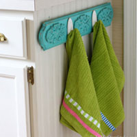 Chalk Painted Kitchen Dishtowel Rack