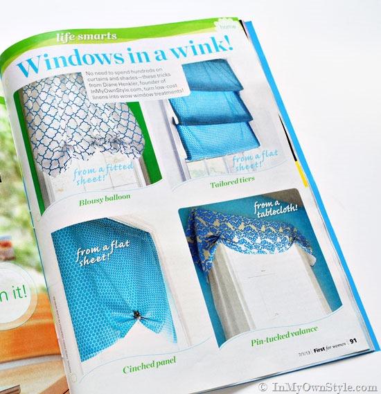 First Magazine no Sew window treatments
