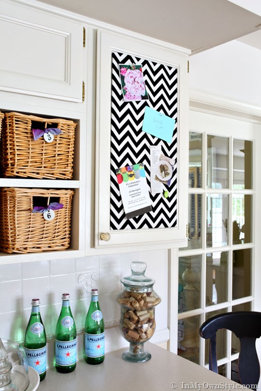 One Yard Decor: Inset Kitchen Cabinet Memo Board