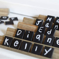 How to make Chalkboard Tile Place Cards
