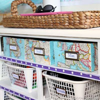 Map Covered Shelf Organizing Boxes