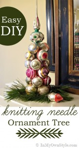 How to make a table top Christmas Ornament Tree using a knitting needle