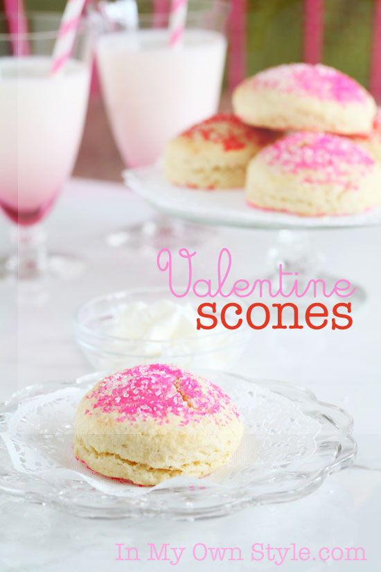 Valentine Scone Recipe with Pink and Red Sprinkles