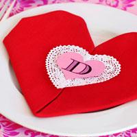 Valentine's Table:  Easy Heart Shaped Napkin Fold