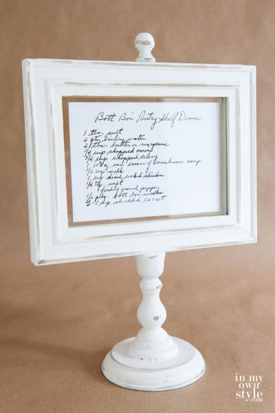 Photo Frame Recipe Holder