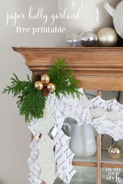 Christmas Garland: Paper Holly Leaves