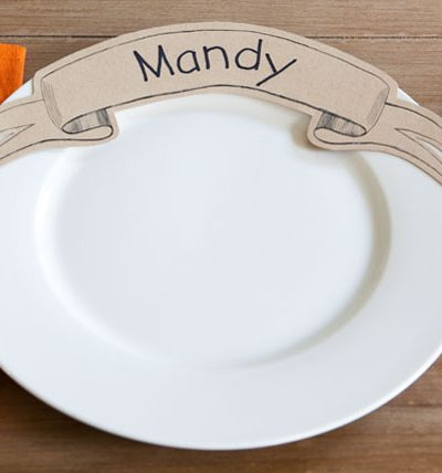 Printable Paper Banner Dinner Plate Place Card