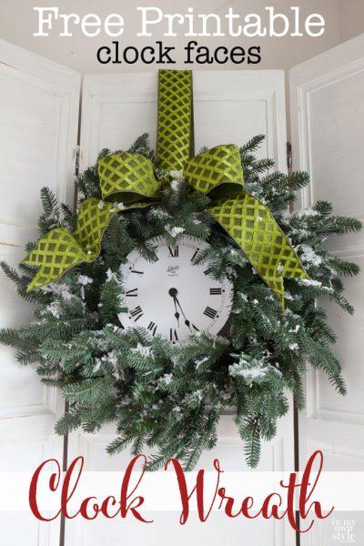 Clock Wreath & Free Printables