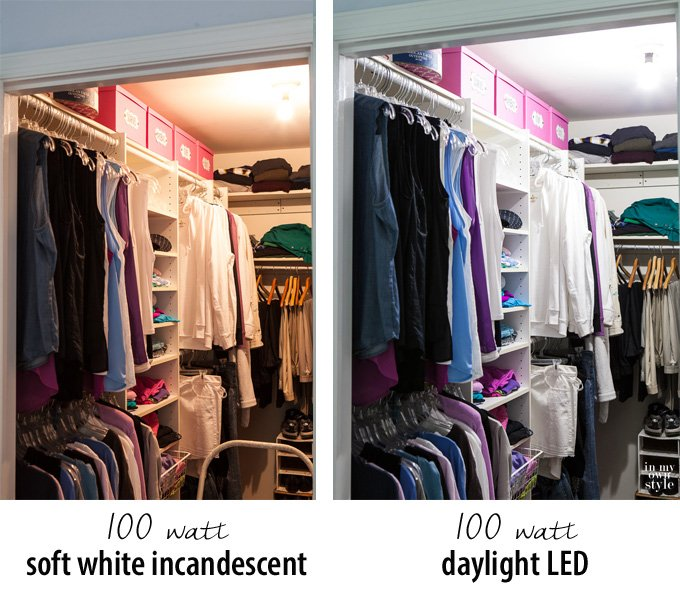 Look at the difference a lightbulb can make in your clothes closet
