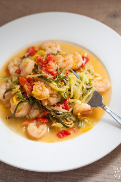 What to Make with Zucchini? Garlic Shrimp Zoodles