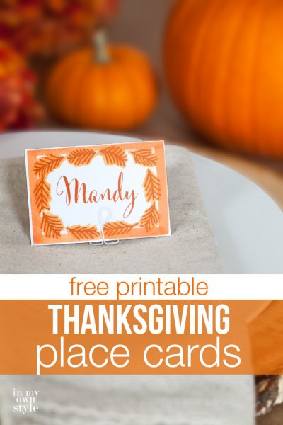 Thanksgiving Free Printable Place Cards