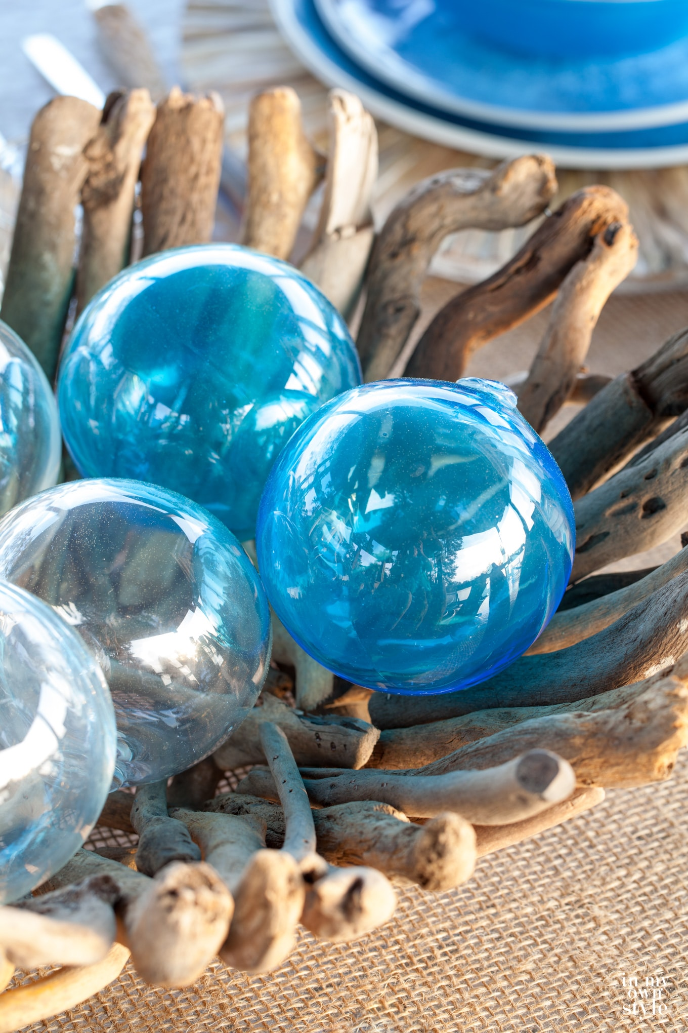 Coastal inspired decorating with glass fishing floats