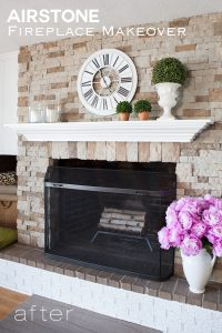 AirStone Fireplace Makeover. If you haven't used AirStone to transform a room or space in your home you are missing out on one great and easy product to work with. It can even be used on exteriors.