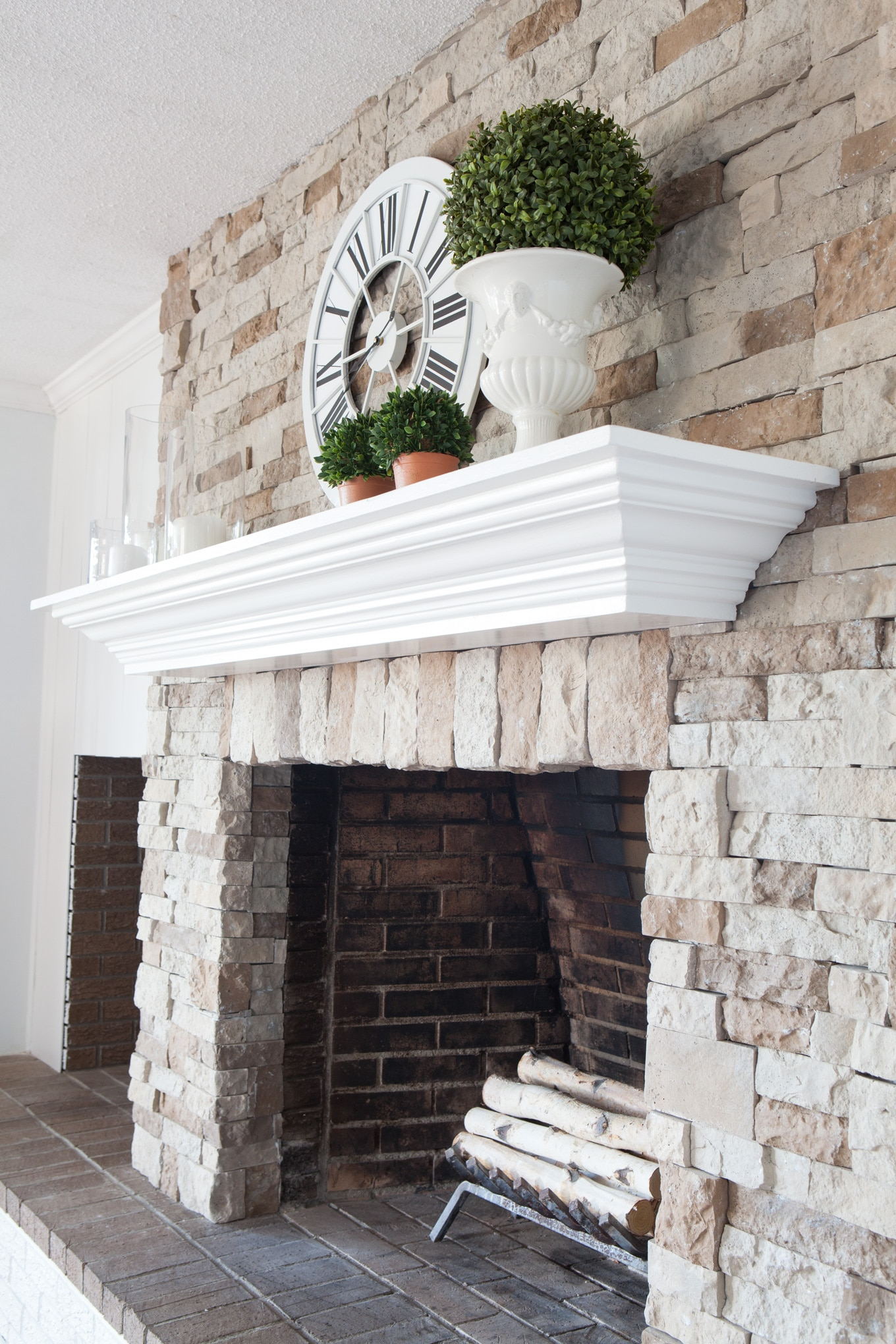 Furniture repurposed into a fireplace mantel