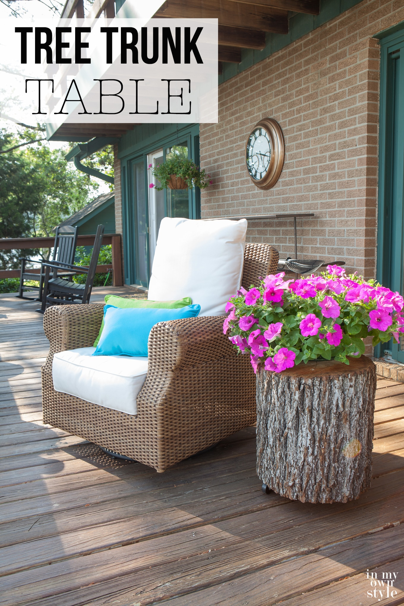 Rattan chair and tree trunk side table on deck. Graphic overlay says How to make a tree trunk table.