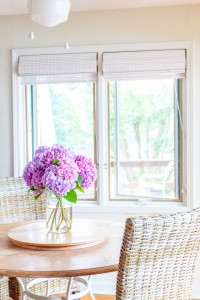 White bamboo blinds are great to use to decorate kitchen windows