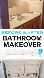 Before and after bathroom makeover done on a small budget. New flooring, sink, toilet and more. The real money saver was repurposing a piece of furniture into a stylish and chic sink vanity.