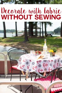 How to decorate with fabric without sewing a stitch! Super easy techniques that will have you making no sew decorative fabric treatments for all the rooms in your house. From seat cushions , tablecloths and more.